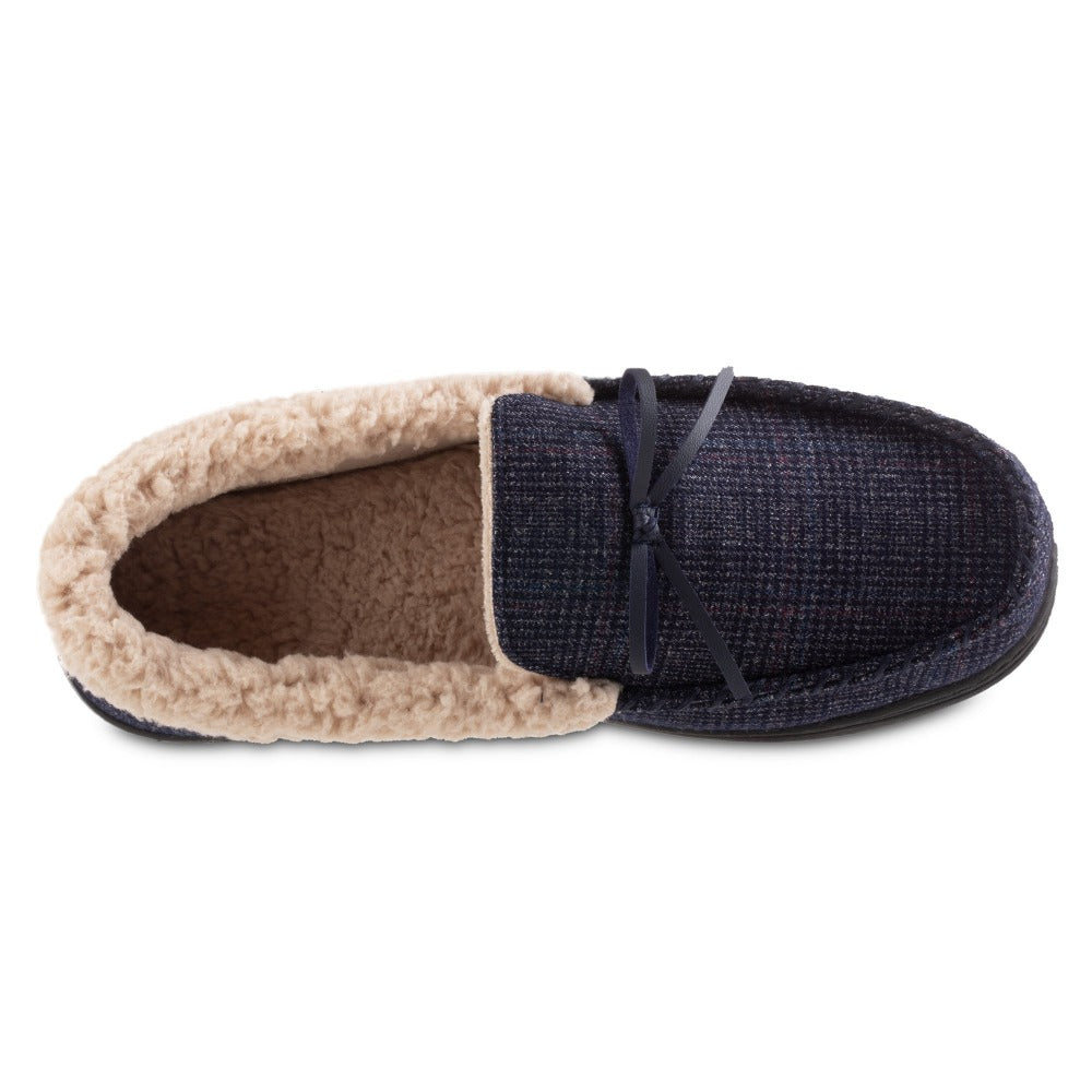Men's Plaid Tanner Moccasin Slipper in Navy Blue Inside Top View
