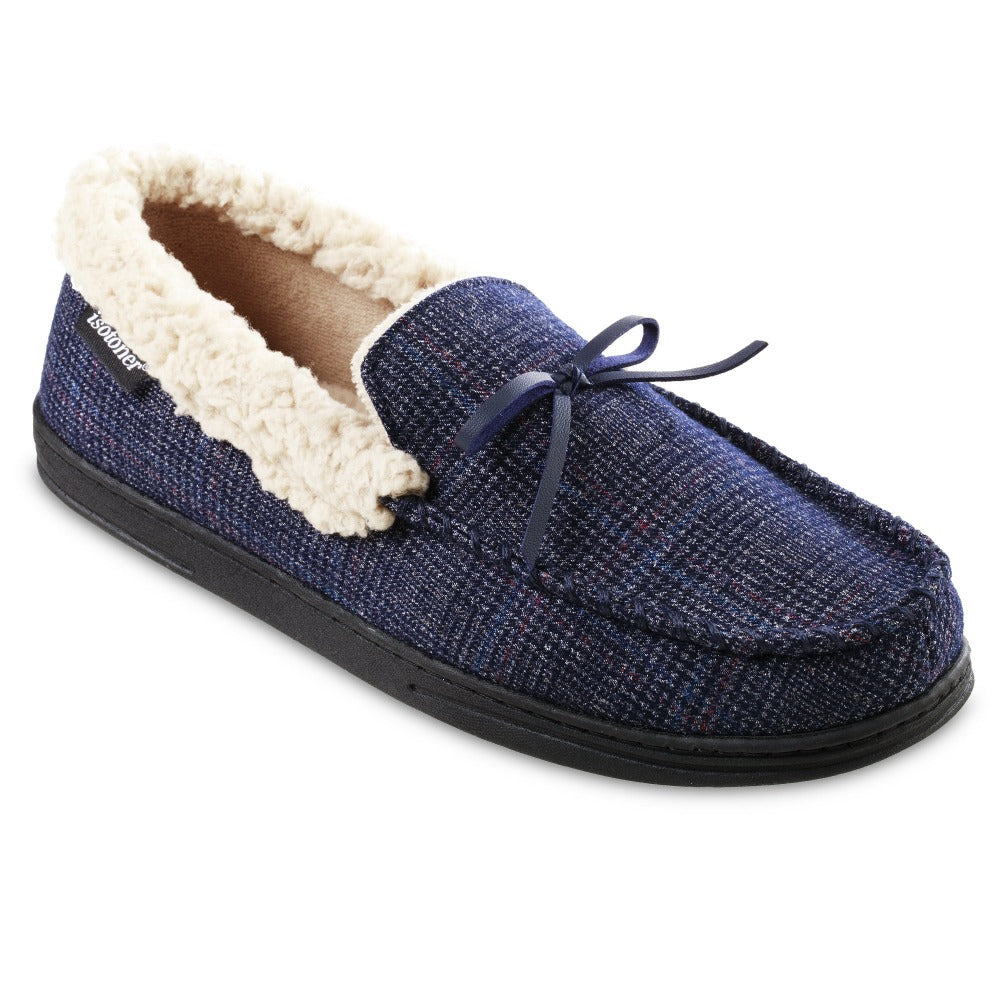 Men's Plaid Tanner Moccasin Slipper in Navy Blue Right Angled View
