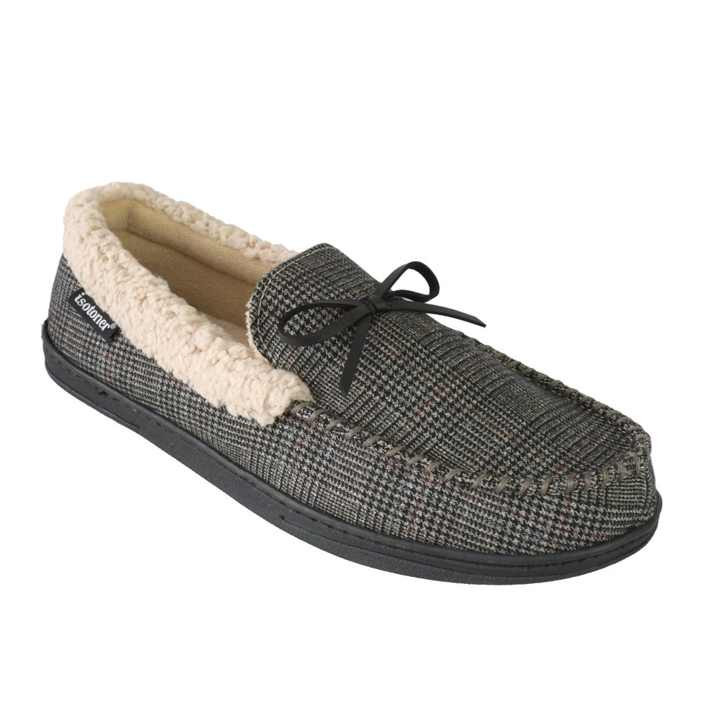 Men's Plaid Tanner Moccasin Slipper in Smokey Taupe Right Angled View