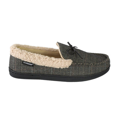 Men's Plaid Tanner Moccasin Slipper in Smokey Taupe Profile