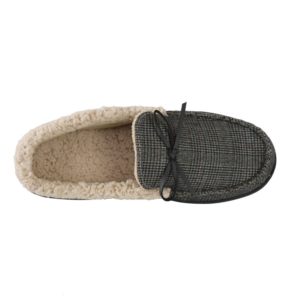 Men's Plaid Tanner Moccasin Slipper in Smokey Taupe Bottom Sole Tread
