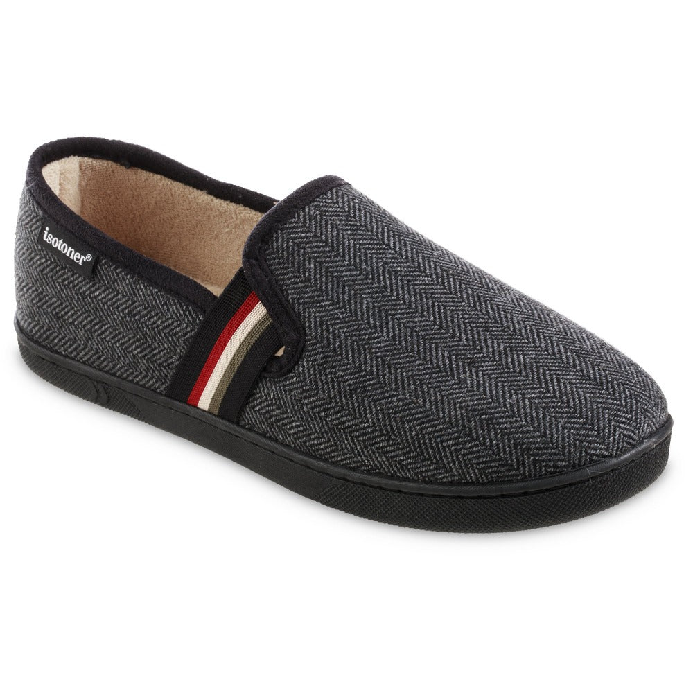 Men's Herringbone Maverick Closed Back Slippers in Black Right Angled View