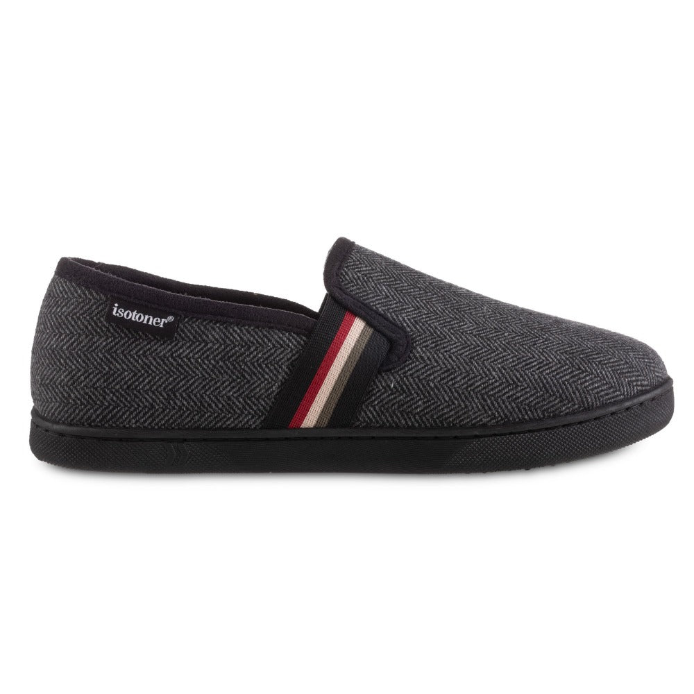Men's Herringbone Maverick Closed Back Slippers in Black Profile