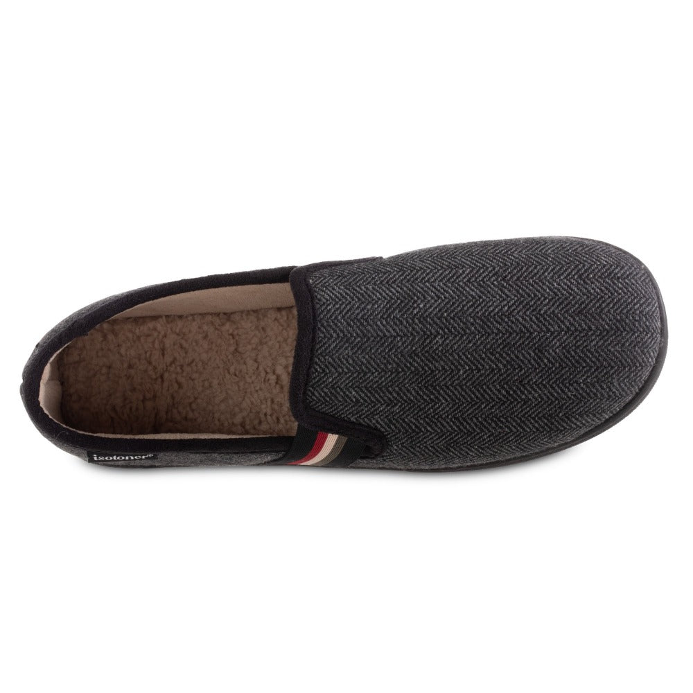 Men's Herringbone Maverick Closed Back Slippers in Black Inside Top View