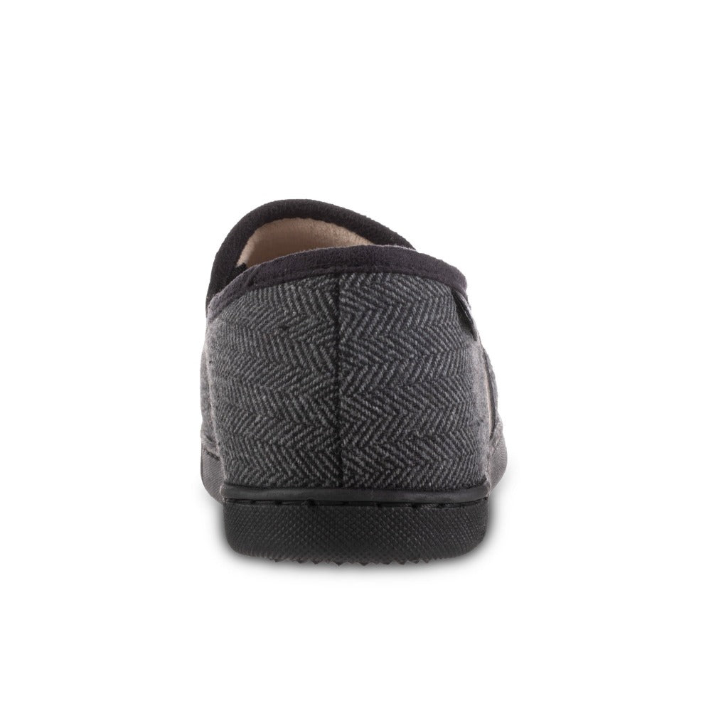 Men's Herringbone Maverick Closed Back Slippers in Black Back Heel