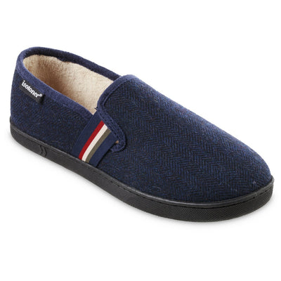 Men's Herringbone Maverick Closed Back Slippers in Navy Blue Right Angled View
