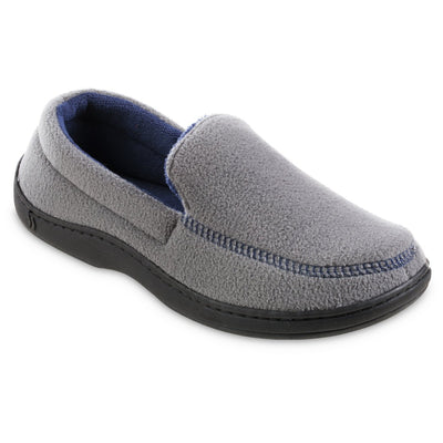 Men's Recycled Fleece Roman Moccasin Slippers in Ash Right Angled View