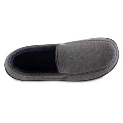 Men's Recycled Fleece Roman Moccasin Slippers in Ash Inside Top View