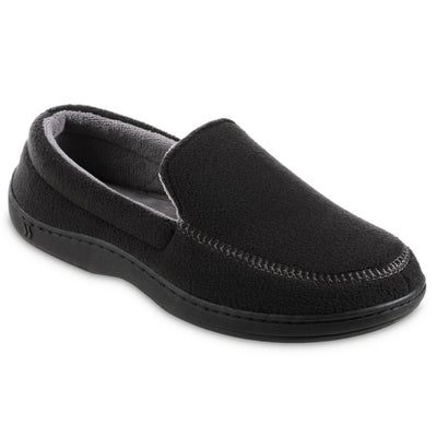 Men's Recycled Fleece Roman Moccasin Slippers in Black Right Angled View