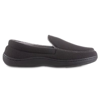 Men's Recycled Fleece Roman Moccasin Slippers in Black Profile