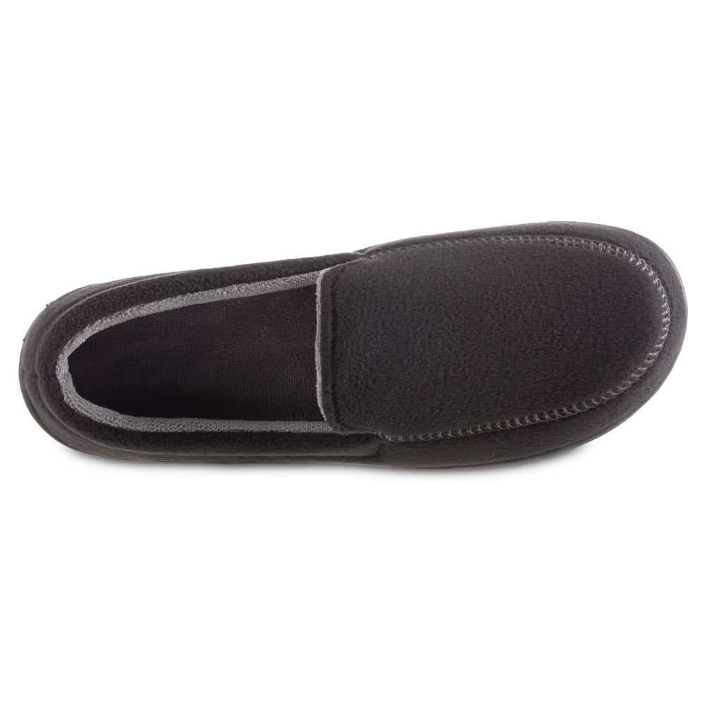 Men's Recycled Fleece Roman Moccasin Slippers in Black Inside Top View