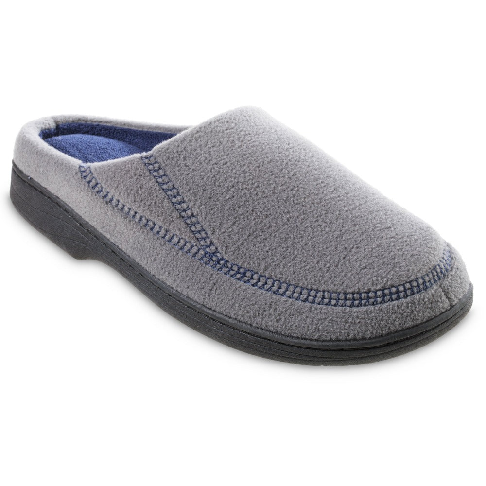 Men's Recycled Fleece Roman Hoodback Slippers in Ash Right Angled View