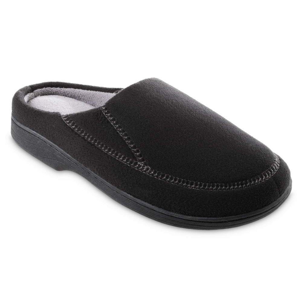 Men's Recycled Fleece Roman Hoodback Slippers in Black Right Angled View