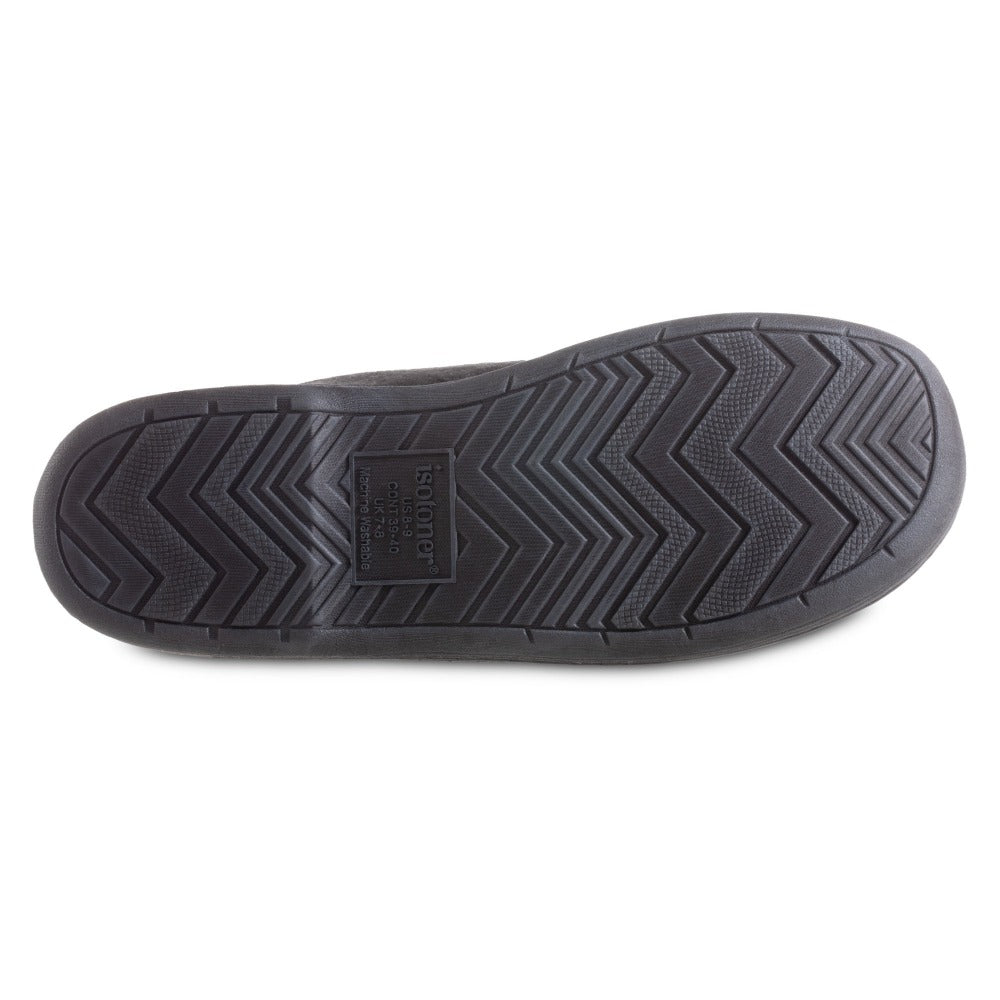 Men's Recycled Fleece Roman Hoodback Slippers in Black Bottom Sole Tread