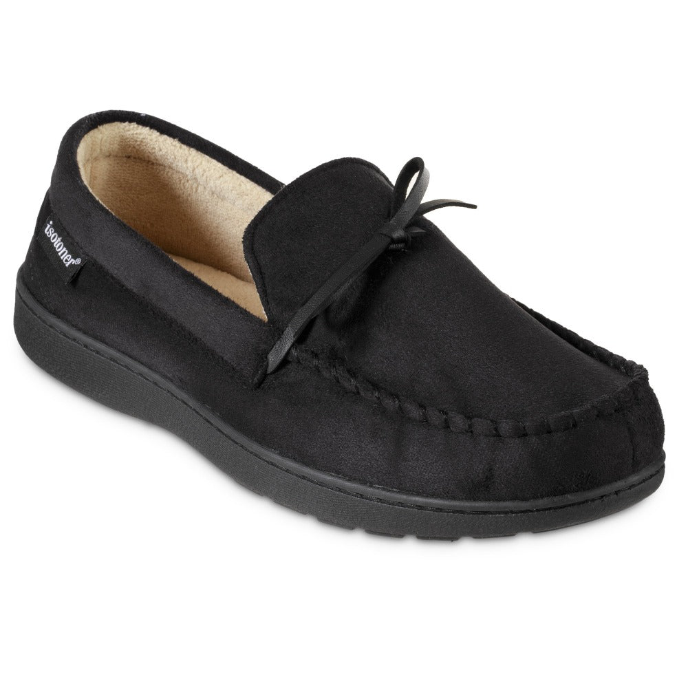 Men's Microsuede Nigel Moccasin Slippers in Black Right Angled View