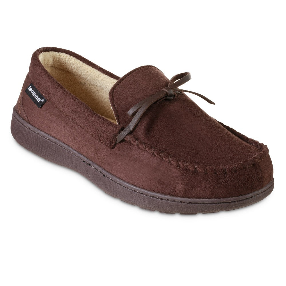 Men's Microsuede Nigel Moccasin Slippers in Dark Chocolate Brown Right Angled View