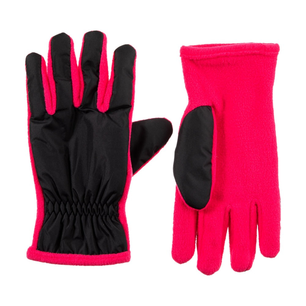 Kid's Nylon Gloves Bright Pink Front and Back View