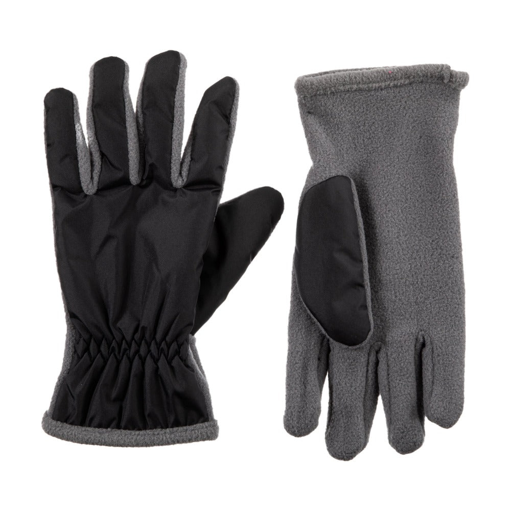 Kid's Nylon Gloves Grey Front and Back View