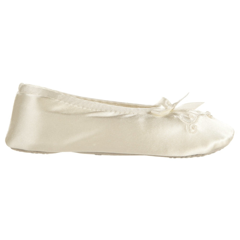 Girl's Satin Pearl Ballerina Slippers in Ivory Profile