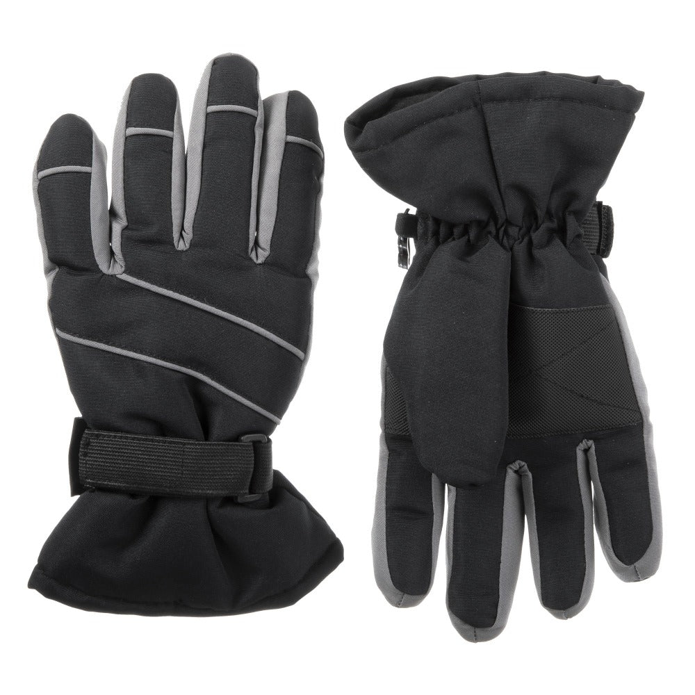 Kid's Ski Glove Grey Front and Back View