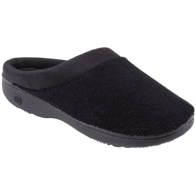Signature Women's Matte Satin Hoodback Slippers in Black Right Side View