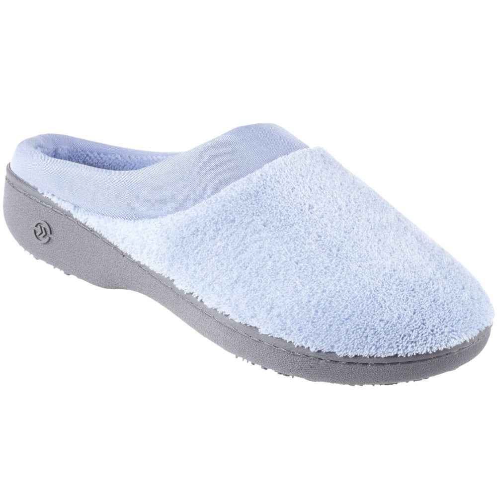 Signature Women's Matte Satin Hoodback Slippers in Blue Moon Right Side View