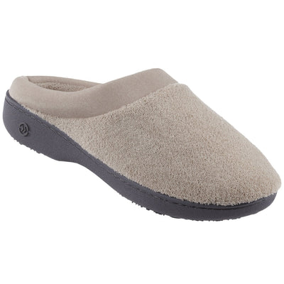 Signature Women's Matte Satin Hoodback Slippers in Stone Right Side View