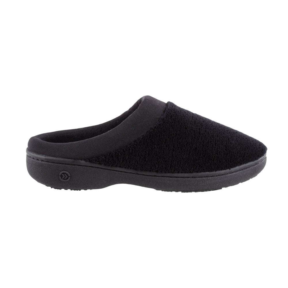 Signature Women's Matte Satin Hoodback Slippers in Black Profile