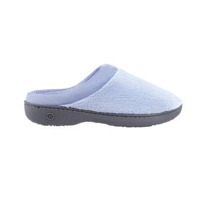 Signature Women's Matte Satin Hoodback Slippers in Blue Moon Profile
