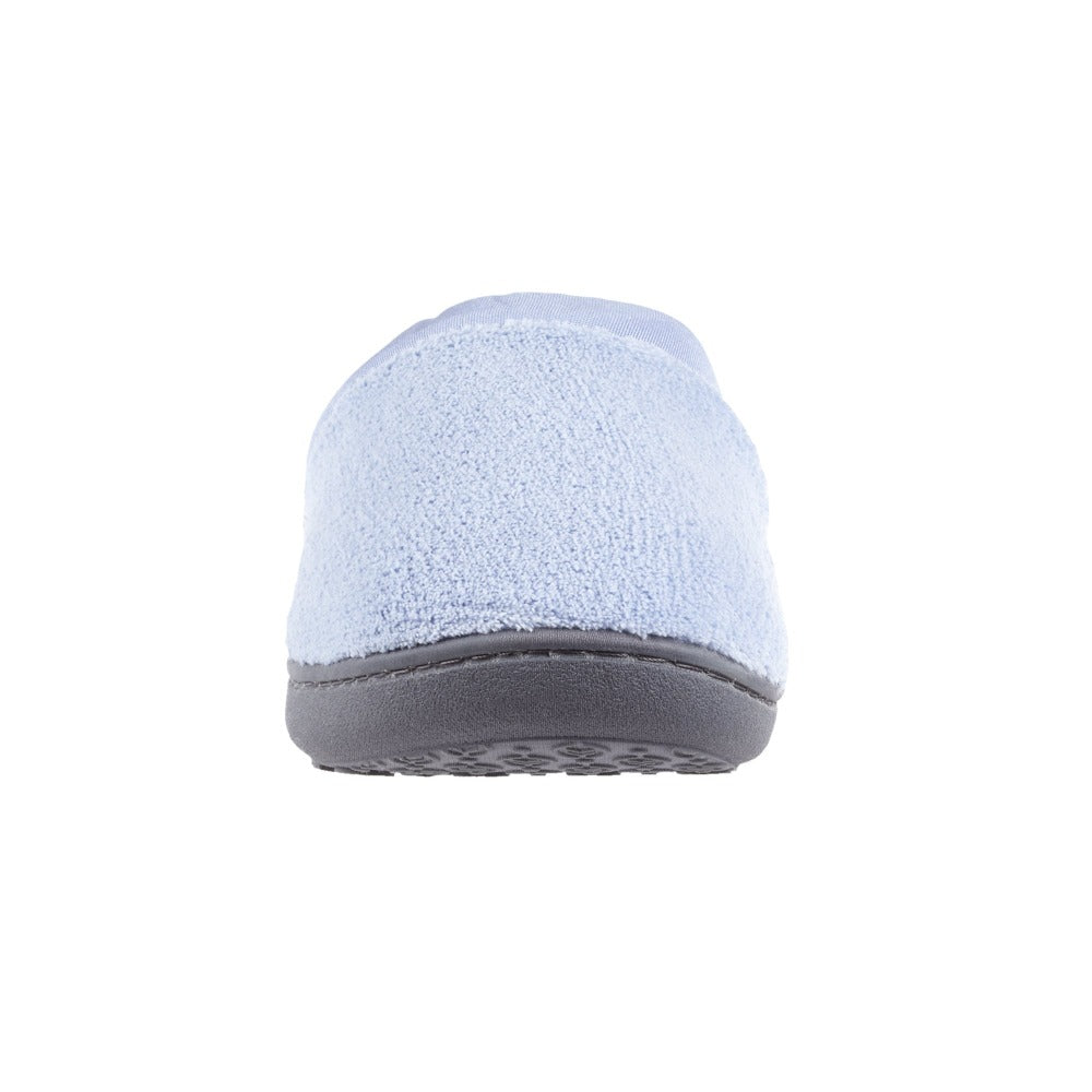 Signature Women's Matte Satin Hoodback Slippers in Blue Moon Front Toe View