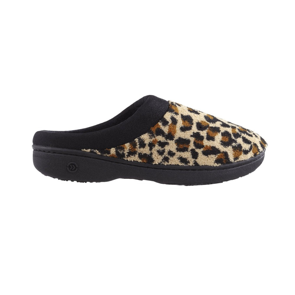 Signature Women's Matte Satin Hoodback Slippers in Cheetah Profile