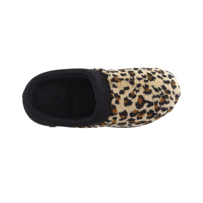 Signature Women's Matte Satin Hoodback Slippers in Cheetah Inside Top View