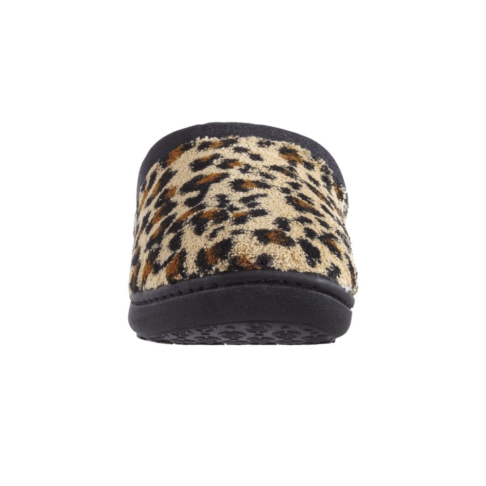 Signature Women's Matte Satin Hoodback Slippers in Cheetah Front Toe View