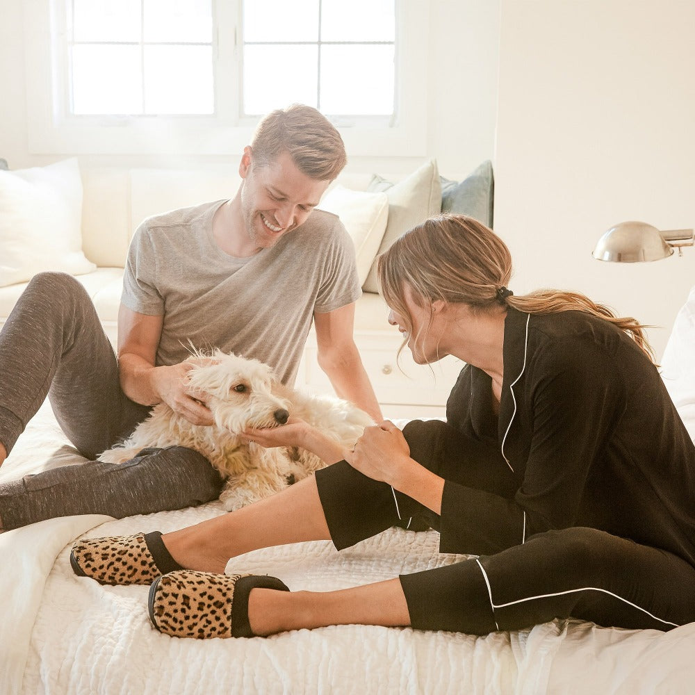 Signature Women's Matte Satin Hoodback Slippers in Cheetah Spotted On Model Morning with the Husband and Dog