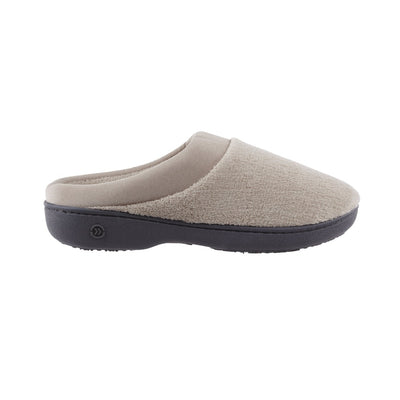 Signature Women's Matte Satin Hoodback Slippers in Stone Profile