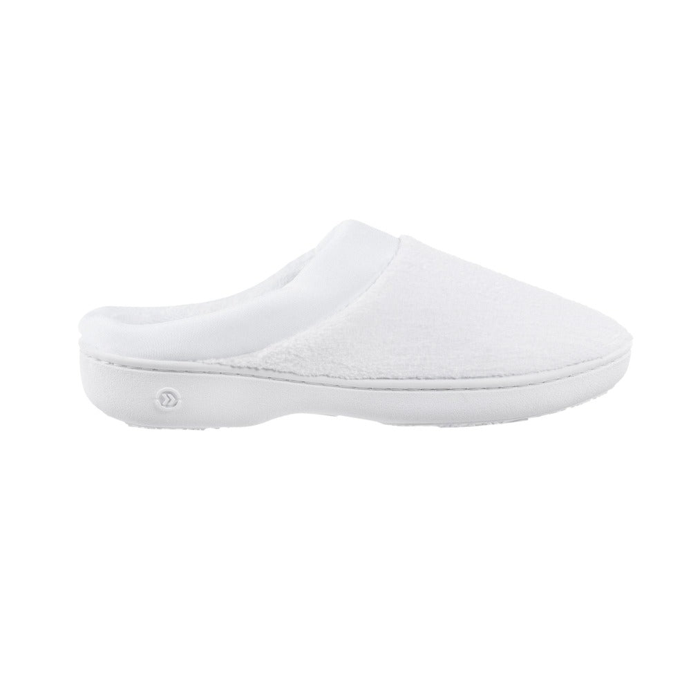 Signature Women's Matte Satin Hoodback Slippers in White Profile