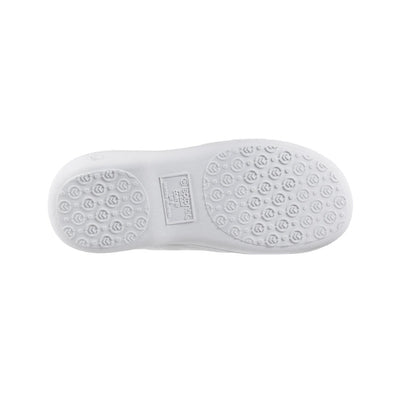 Signature Women's Matte Satin Hoodback Slippers in White Bottom Sole Tread