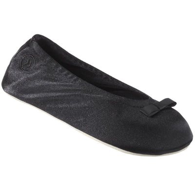 Satin Ballerina Slipper in Black angled view