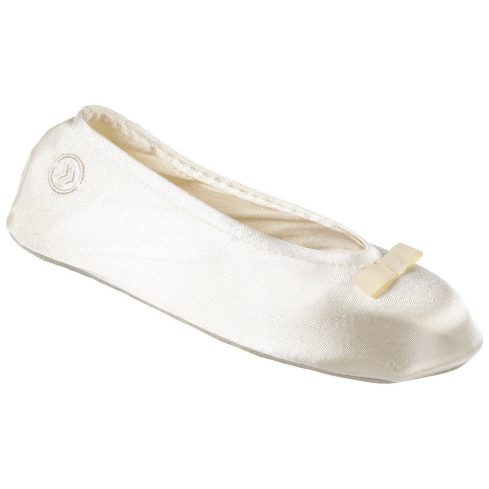 Women's Satin Ballerina Slippers with Suede Sole