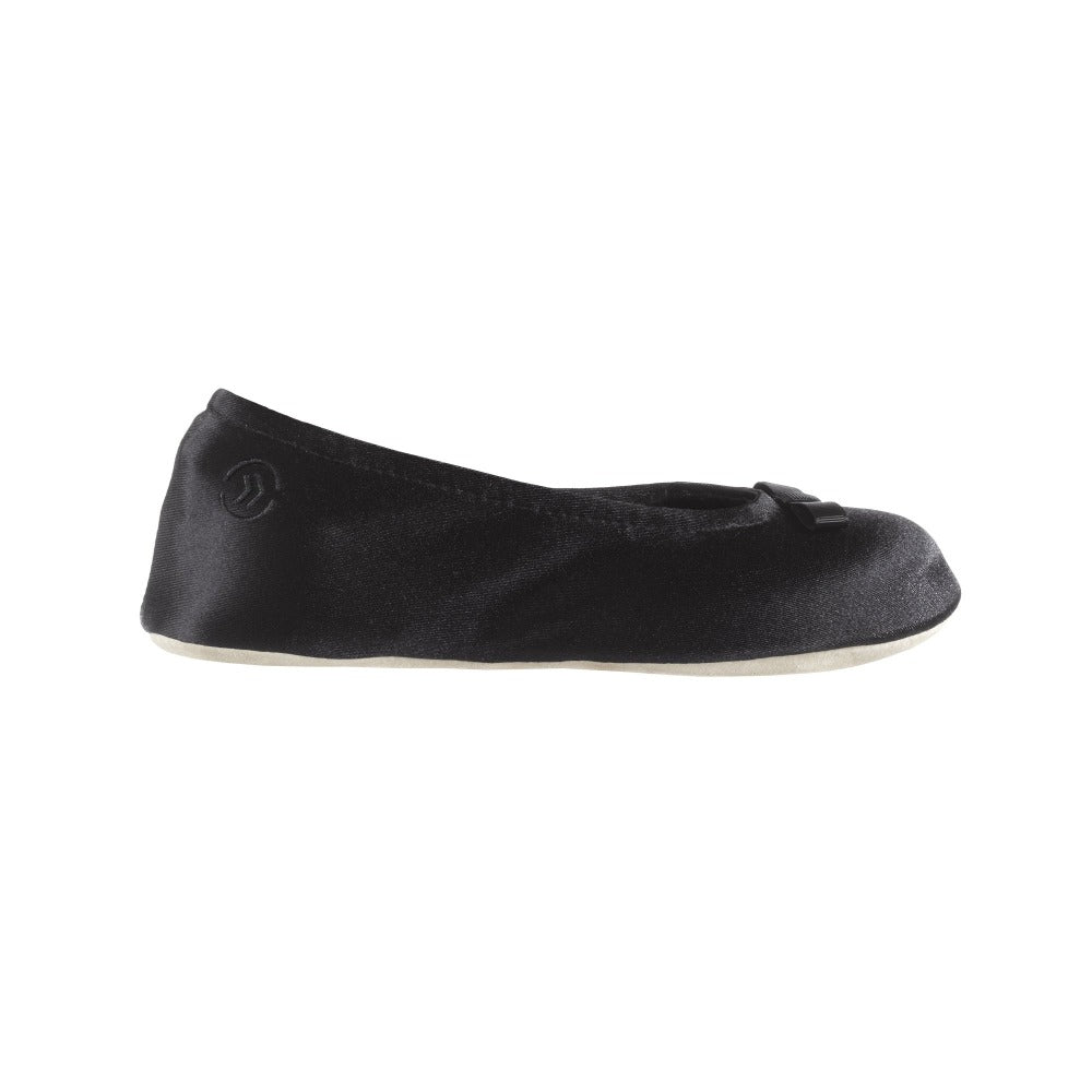Signature Satin Ballerina Slippers with Suede Sole Black 1