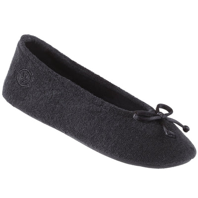 Signature Women's Terry Ballerina Slippers in Black Left Angled View