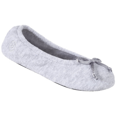 Signature Women's Terry Ballerina Slippers in Heather Left Angled View