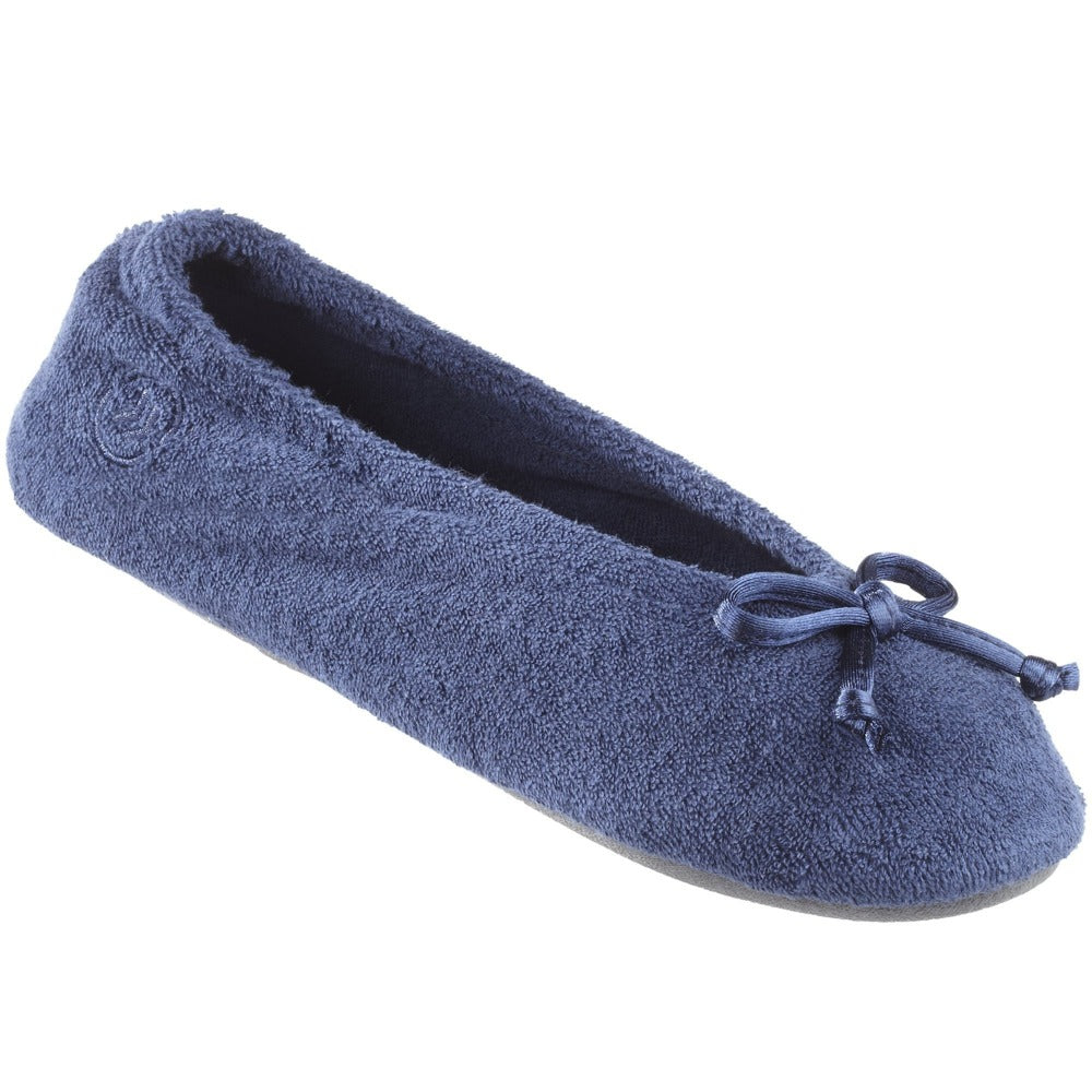 Signature Women's Terry Ballerina Slippers in Navy Left Angled View