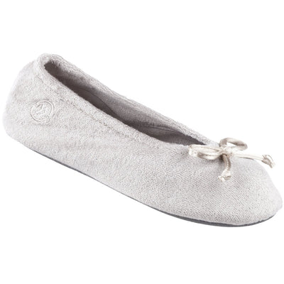 Signature Women's Terry Ballerina Slippers in Stone Left Angled View