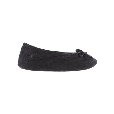 Signature Women's Terry Ballerina Slippers in Black Profile