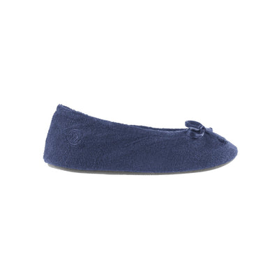 Signature Women's Terry Ballerina Slippers in Navy Profile