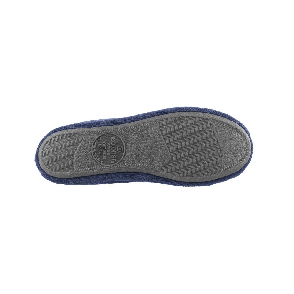 Signature Women's Terry Ballerina Slippers in Navy Bottom Sole View