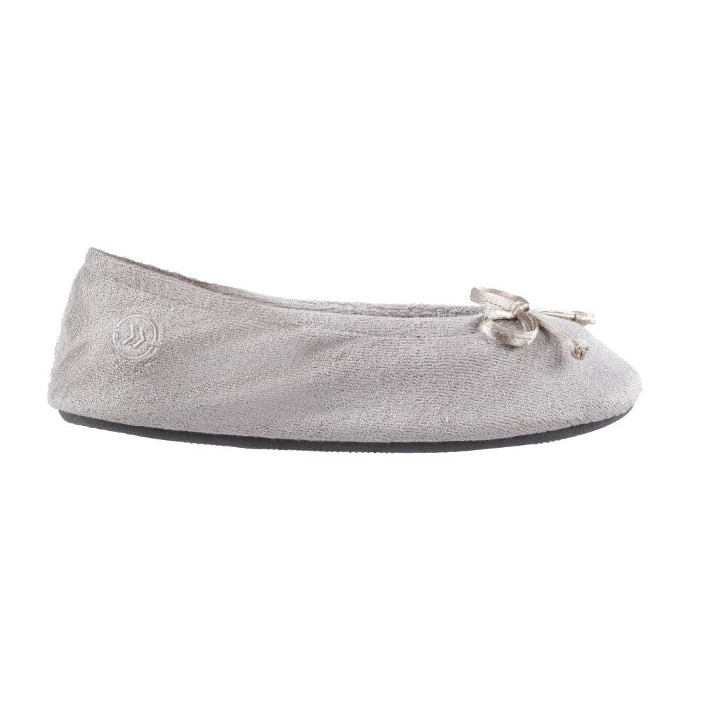 Signature Women's Terry Ballerina Slippers in Stone Profile