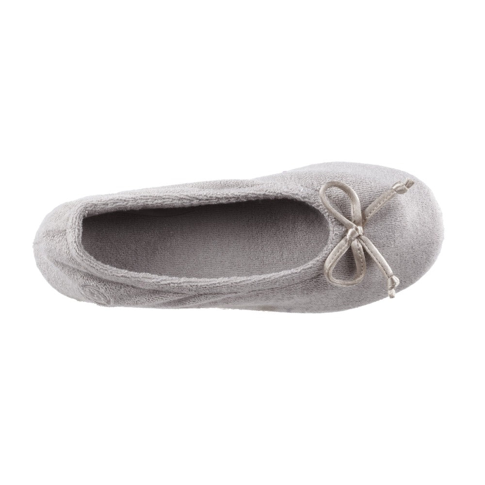 Signature Women's Terry Ballerina Slippers in Stone Inside Top View