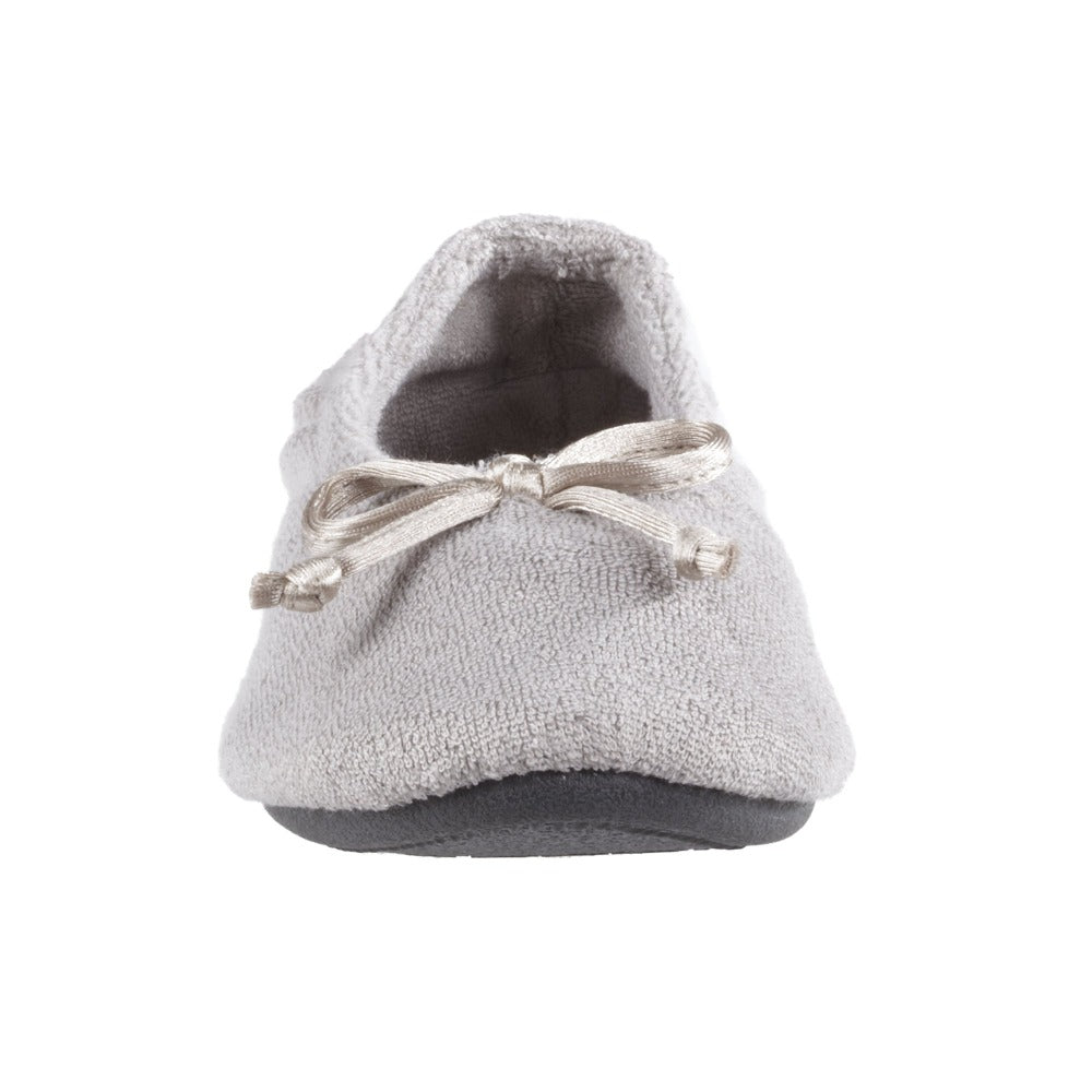 Signature Women's Terry Ballerina Slippers in Stone Toe Bow View